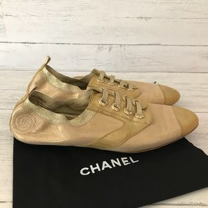 ✨Chanel Gold Elastic Oxfords